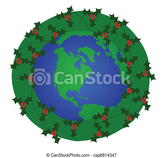 christmas wreath around the globe symbolizing of a global rh canstockphoto com christmas around the world clipart free