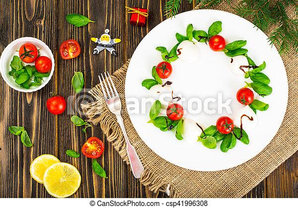 Christmas Wreath Caprese Salad Festive Appetizer On A White Plate