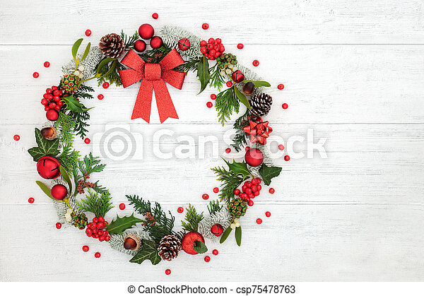Christmas Wreath Decoration with Red Bow - csp75478763
