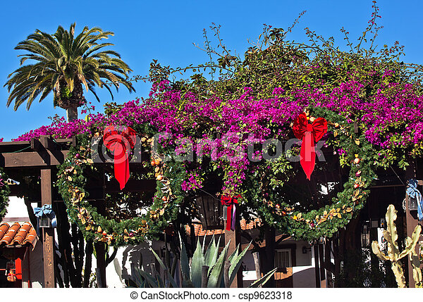 Christmas Wreath Decorations Purple Bounganvilla Palm Tree Cactus Garden  Old San Diego Town California   Csp9623318