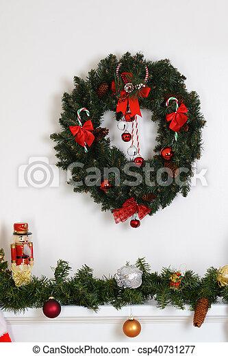 Christmas Wreath Fireplace Mantel