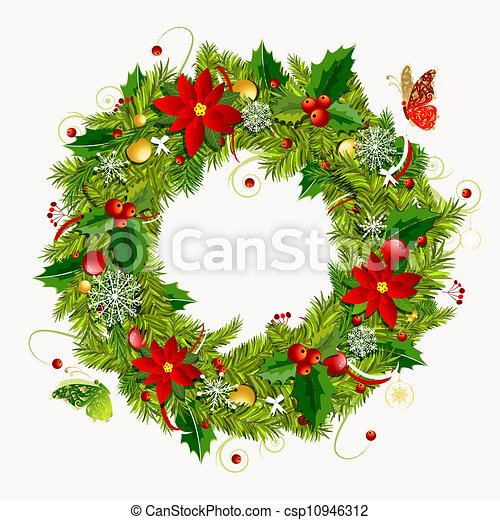 Christmas Wreath Drawing.Christmas Wreath For Your Design