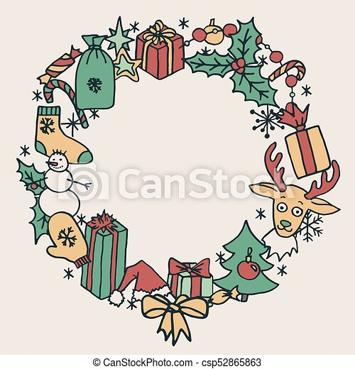 Christmas Wreath Vector.Christmas Wreath Frame