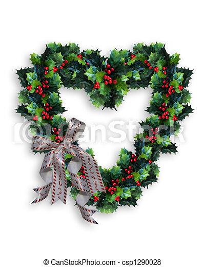 Christmas Heart Wreath.Christmas Wreath Heart