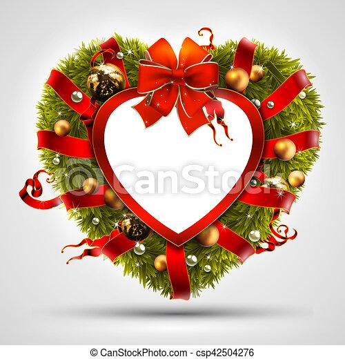 Christmas Heart Wreath.Christmas Wreath In The Shape Of Heart