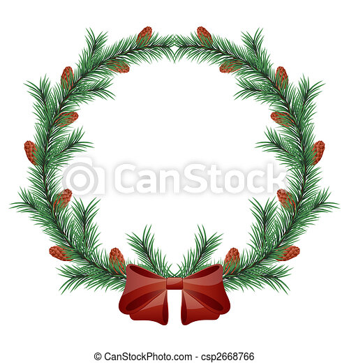 Christmas wreath isolated on white background - csp2668766