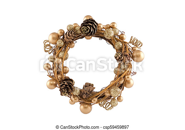 Christmas wreath isolated on white background - csp59459897