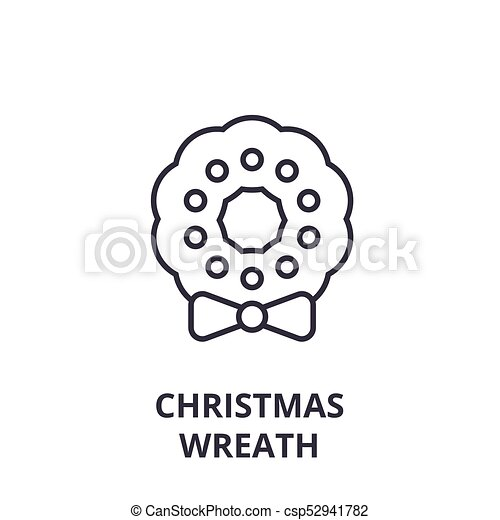 Christmas Wreath Line Icon Outline Sign Linear Symbol Vector