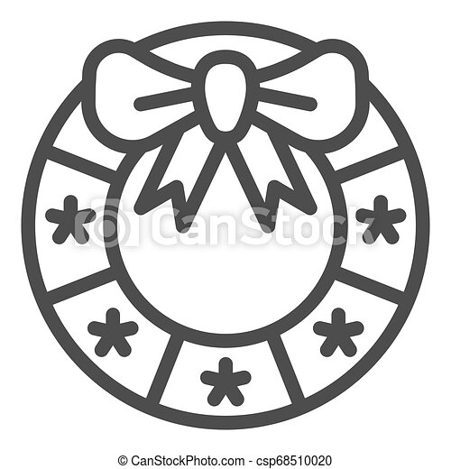 Christmas wreath line icon. Xmas decoration vector illustration isolated on white. Door decor outline style design, designed for web and app. Eps 10. - csp68510020