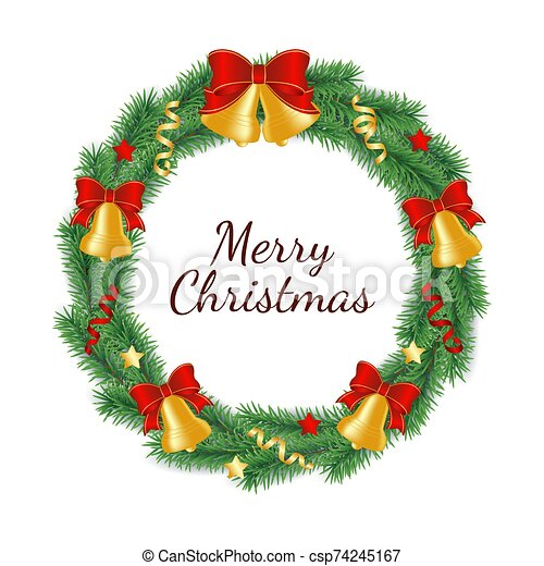 Christmas wreath made from branches of green tree in form of circle decorated with bells with bow, ribbons and stars. - csp74245167