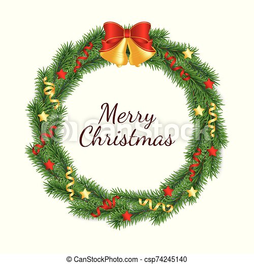 Christmas wreath made from branches of green tree in form of circle decorated with bells with bow, ribbons and stars. - csp74245140
