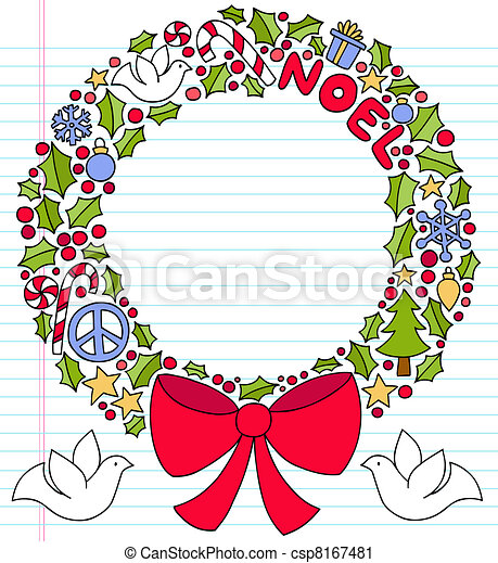 Christmas Wreath Notebook Doodles - csp8167481