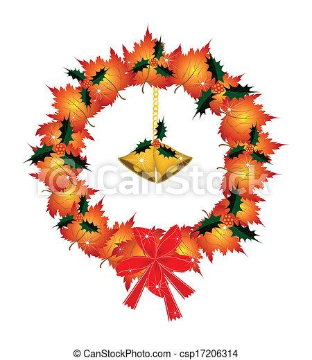 Christmas Wreath of Orange Maple with Golden Bells - csp17206314