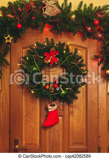 Christmas Wreath On Door Christmas Wreath With Red Sock And Border