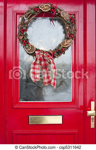 Christmas Wreath On Red Door Christmas Wreath With Berries Holly