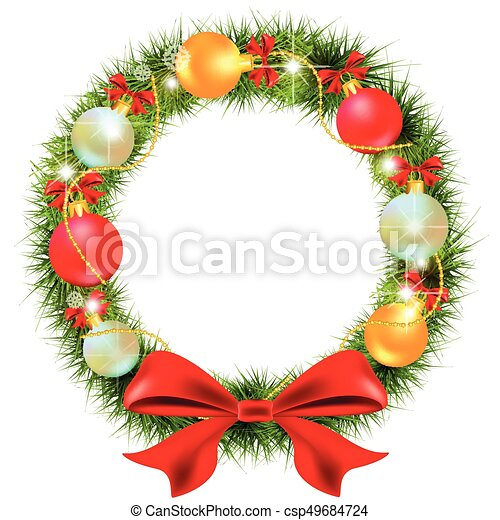 Christmas Wreath Red Bow And Balls On A White