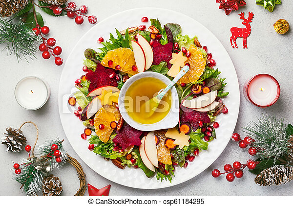 Christmas Wreath Salad With Beetroot Apple Oranges And Honey Mustard