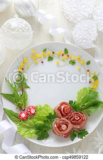 Christmas Wreath Salad With Rose Shaped Prosciutto