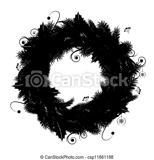 Christmas Wreath Silhouette.Christmas Wreath Silhouette For Your Design