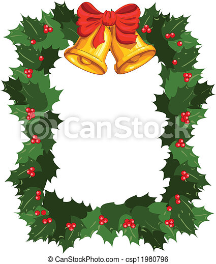 Christmas wreath with bells, background - csp11980796