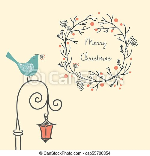 Christmas wreath with bird on the old street light. Vintage New Year element. greeting card. - csp55700354