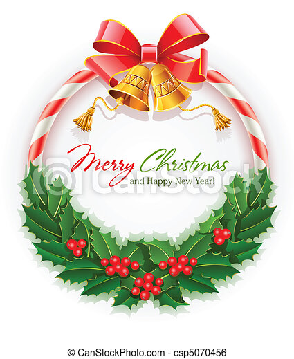 christmas wreath with bow and gold bells - csp5070456