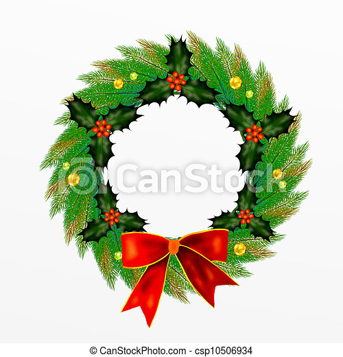 Christmas Wreath with Bow, Holly Le - csp10506934