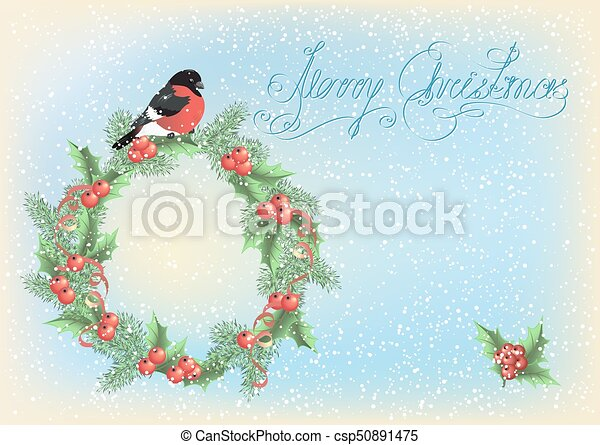 Christmas wreath with bullfinch on the snowfall background - csp50891475