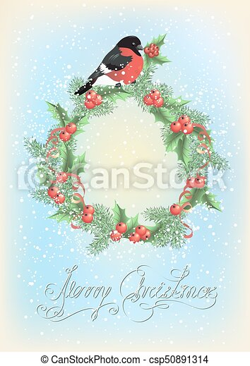 Christmas wreath with bullfinch on the snowfall background - csp50891314