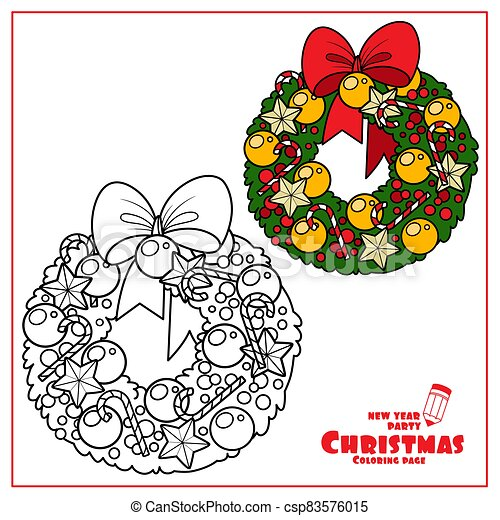 Christmas Wreath With Golden Balls And Striped Candy Color And Outlined For Coloring Page Canstock