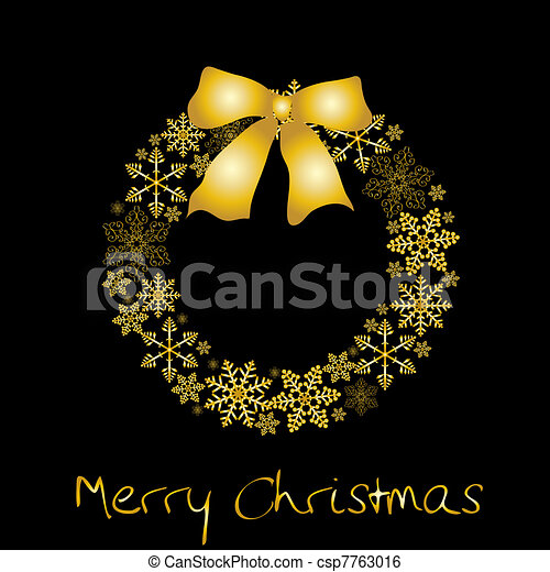 Christmas wreath with golden bow - csp7763016