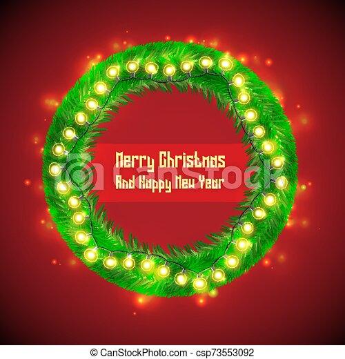 Christmas Wreath With Light Bulb Garlands - csp73553092