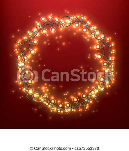 Christmas Wreath With Light Bulb Garlands - csp73553378