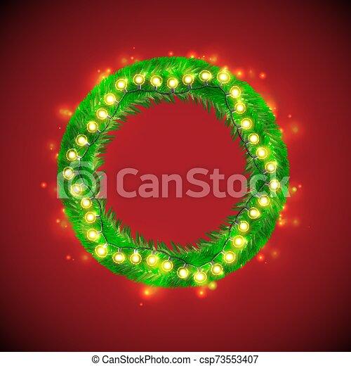 Christmas Wreath With Light Bulb Garlands - csp73553407