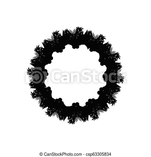 Christmas Wreath Silhouette Vector.Christmas Wreath With Mistletoe Silhouette Icon Symbol Design Vector Christmas Illustration Isolated On White Background Cartoon Vector Holly Berry