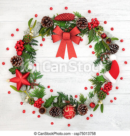 Christmas Wreath with Red Bow - csp75013758
