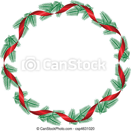 Christmas wreath with red ribbon - csp4631020