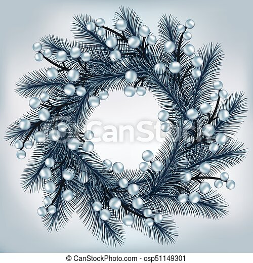 Silver Christmas Wreath.Christmas Wreath With Silver Fir Branches