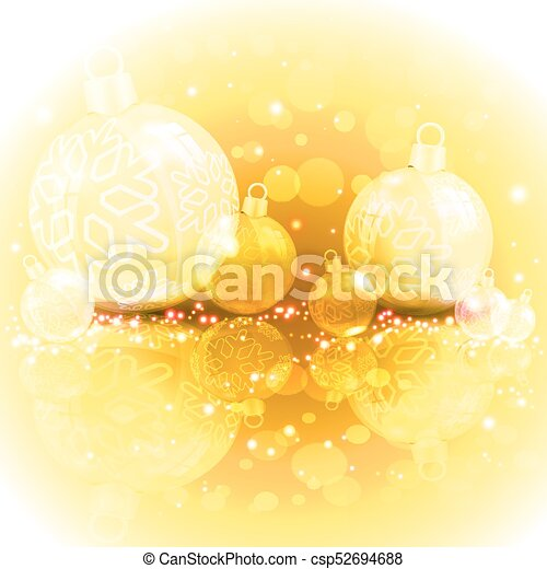 Christmas yellow design with balls - csp52694688