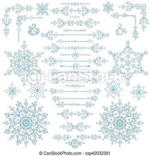 christmasnew year decor setwinter borderselements csp42032391