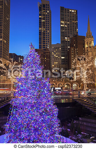 Christmass Tree in Chicago - csp52373230