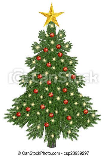 Christmastree decorated - csp23939297