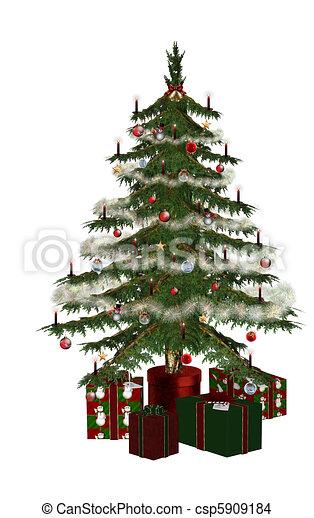 Christmastree with praesent - csp5909184