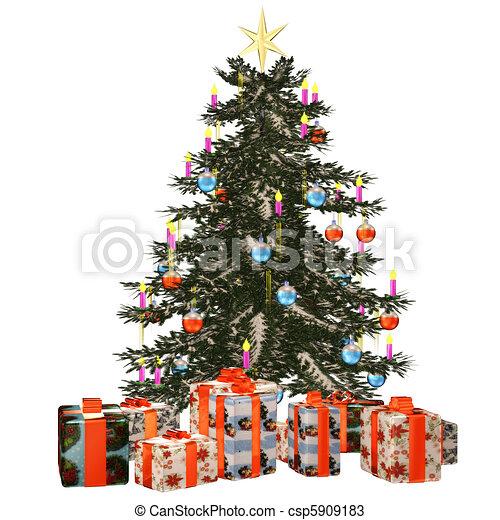 Christmastree with praesent - csp5909183