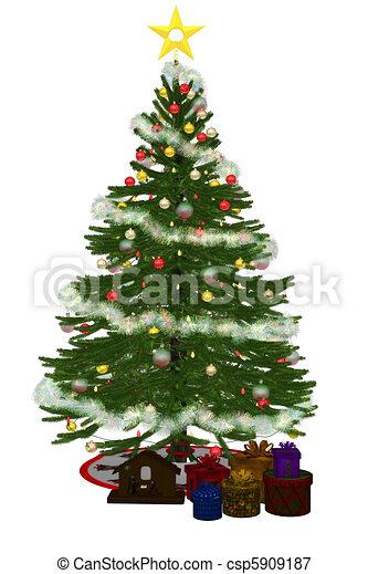 Christmastree with praesent - csp5909187