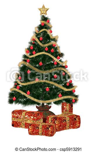Christmastree with pr?sent - csp5913291