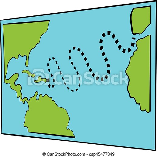 Christopher columbus first voyage map icon in icon in cartoon style on