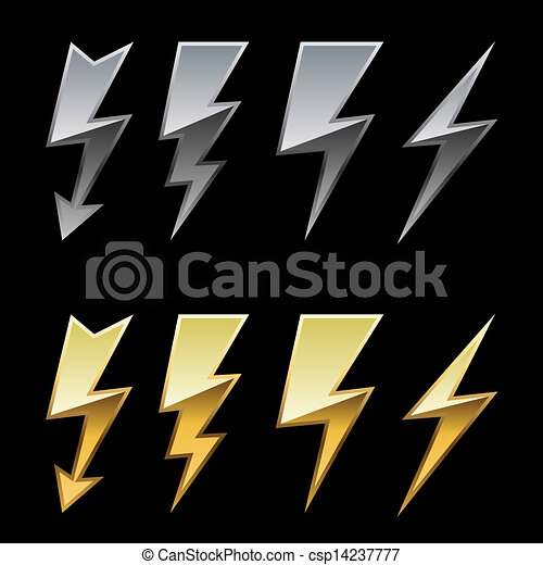 Chrome and golden lightning icons isolated on black background. - csp14237777