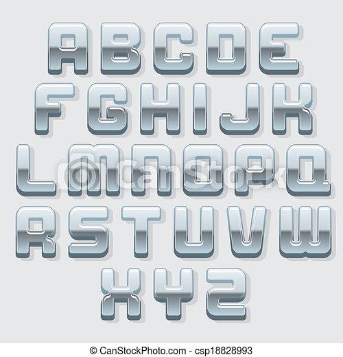 Chrome Metallic Font. Vector Set - csp18828993