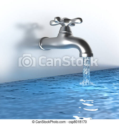 Chrome tap with a water stream - csp8018170
